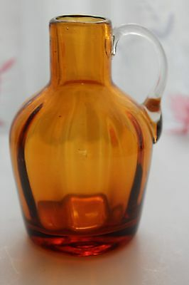 Vintage Miniature Amber Mouth Blown Glass Pitcher 4 inches EXCELLENT