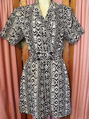 Size 10 Joan Walters Vintage Black & White Print Shorts Romper Made in USA