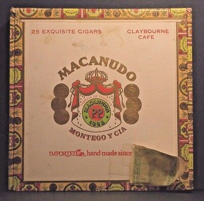 "MACANUDO "" Claybourne Cafe "" Cigar Box EMPTY MONTEGO y CIA Handmade in SANTIAGO"