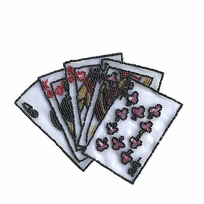 """7.25""""X5.25"""" Flush Poker Cards beaded patch for Sewing Notions Crafts by piece"""