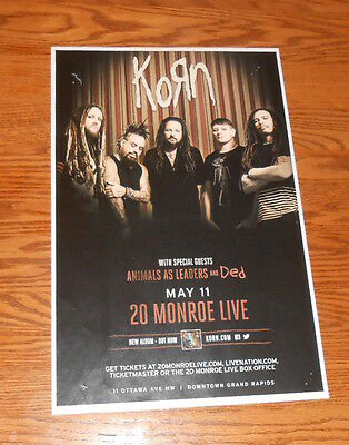 Korn with Animals as Leads and Ded Tour Poster Promo Original 11x17