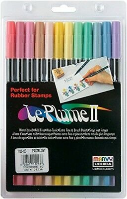 Uchida Le Plume II Double-Ended Pastels Markers, Pack Of 12, Multi-Colour