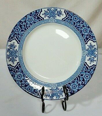 Antique Flow Blue Wood and Sons Khotan Blue & White Dinner Plate c1907