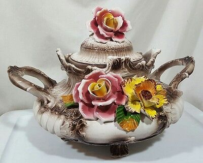 Vintage Capodimonte Tureen Handpainted Made In Italy