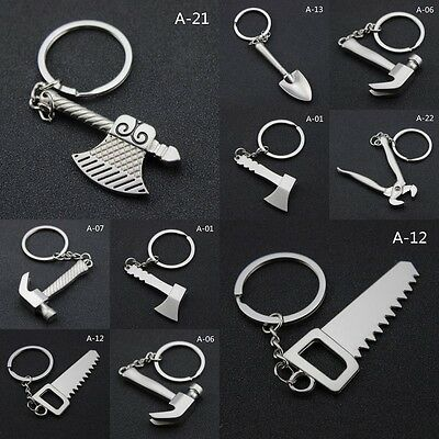 Spanner Axe Pliers Saw Keyring Mechanic Keychain Work Tools Toy Kid Gifts New