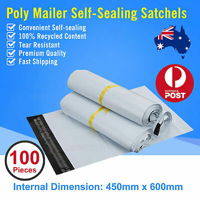 100pcs 450 x600mm Poly Mailer Plastic Satchel Courier Self Sealing Shipping Bag