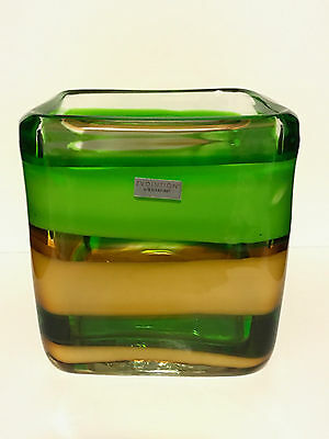VINTAGE! Waterford Evolution Green & Yellow Peridot Whisper Vase - Hand Made #1
