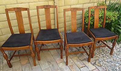 Beautiful Set of Antique English Solid Oak Country Chairs-  Seven Total Chairs