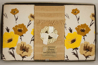 Set of 3 Vintage Cannon Finger Tip Towels Brown Yellow Floral New NOS