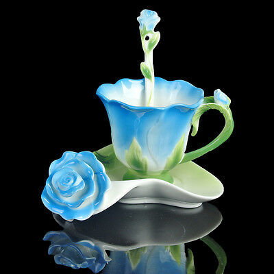 1Cup 1Saucer 1Spoon Holiday Gift Colorful Blue Rose Coffee Set Tea Set