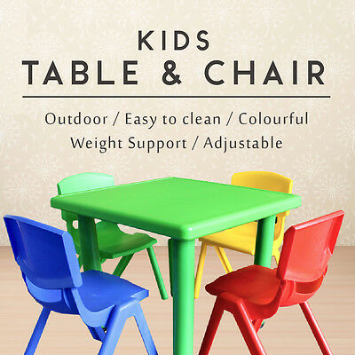 Blue Outdoor Kids Toddler Children Square Activity Table Chairs Separate Set
