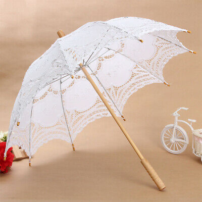 Women Lady Handmade Cotton Parasol Lace Umbrella Party Wedding Bridal Wooden