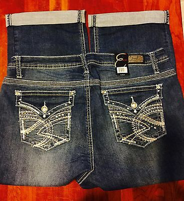 NWT Earl Jeans Capris  Jeans Size 16W..BLING Sexy! 36 X 20