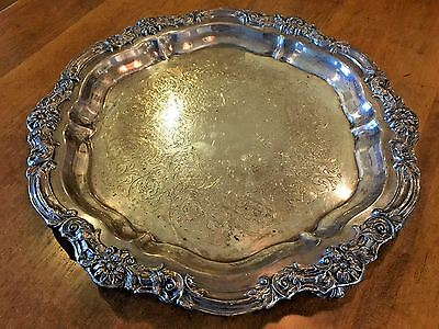 Vintage F B Rogers 1883 Silver on Copper 7734 Ornate Footed Round Serving Tray
