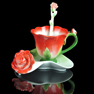 Colorful Red Rose Coffee Set Tea Set 1Cup 1Saucer 1Spoon Holiday Gift