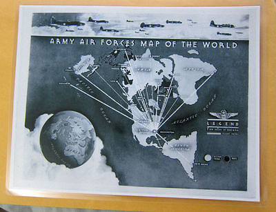 Laminated Flat Earth Army Air Forces Map of the World mini map 9 x 11.5