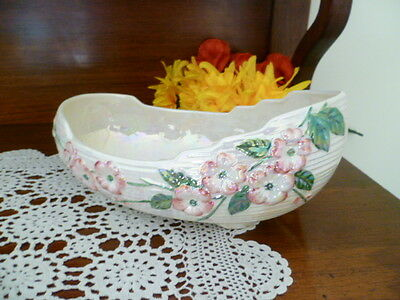large maling lustered english made boat shaped /  vase