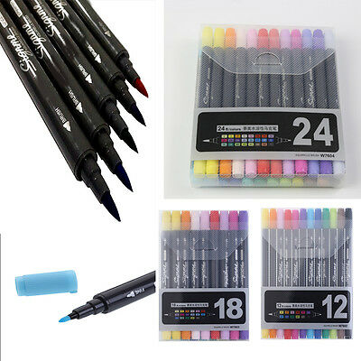 Drawing Art Graphic Twin Tip Brush Sketch Water Color 12/18/24 Colors Marker Pen