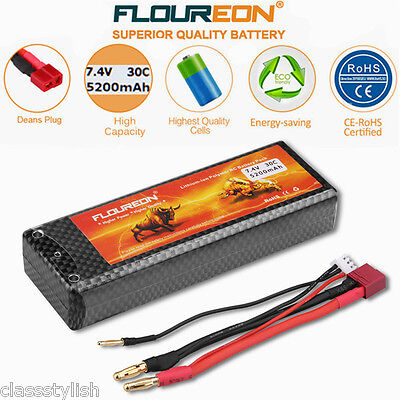2S  7.4V 5200mAh 30C LiPo Battery Pack Deans for RC Car Helicopter Hobby Truggy