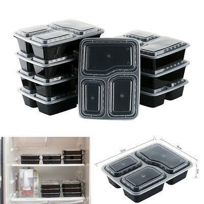 10pcs Microwave Safe Plastic Meal Prep Container Lunch Box Food Storage Takeaway