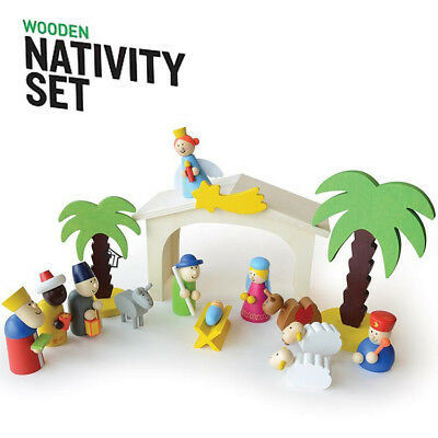 Wooden Nativity Set 15pc Scene Traditional Wood Christmas Decoration Kids Play
