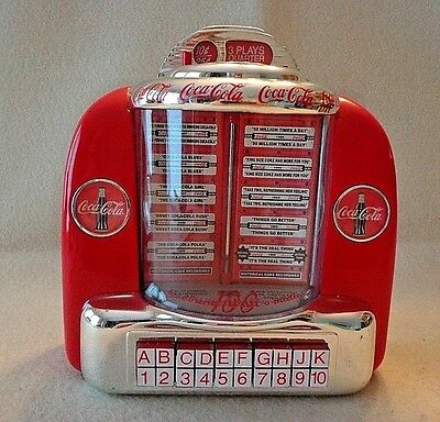 """Coca Cola Jukebox Coin Bank,plays 2 Tunes, Batteries Included,era 1996, 6"""" Tall"""
