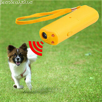 Training Device with LED 3 in 1 Anti Barking Stop Bark Ultrasonic Dog Repeller #