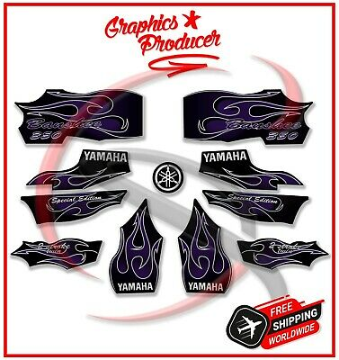 Yamaha Banshee Decals 2006 Black And Purple Full Set Graphics For OEM Fenders