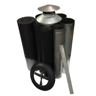 "Wood Fire Flue Kit - Painted Satin Black 150 (6"") Triple Skin"