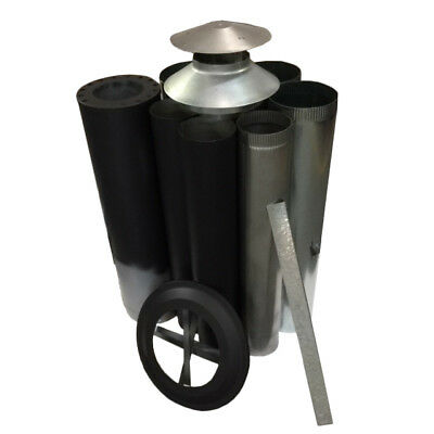 Wood Fire Flue Kits - Painted Metallic Black	Triple Skin Flue Kit