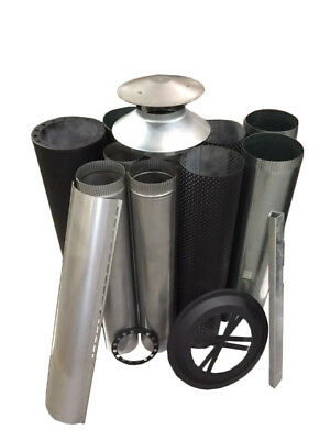 Wood Fire Flue Kits - Decorative Mesh Kits – Full Kit Painted Metallic Black