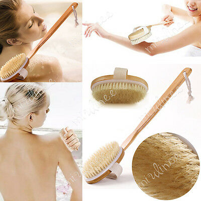 Long Back Scrubber Shower Bath Body Brush Loofah Natural Wooden Exfoliating