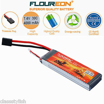 2S 30C 7.4V 4000mAh LiPo Battery Pack Traxxas for Car Airplane Helicopter Truggy