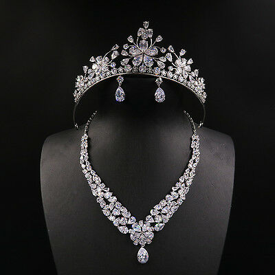 Luxury Jewelry Set Crown Tiara Necklace Earring Bridal Hair Accessory For Gift