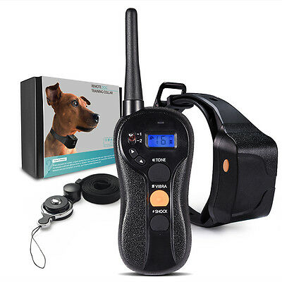 Dog Training Collar Vibration & Shock Mode Rechargeable Blind Operation Remote