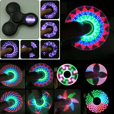 18 Changing Letter LED Colorful Light Hand Spinner Tri Fidget EDC Toy Focus ADHD
