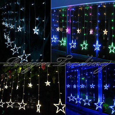 12 Twinkling Stars Christmas Fairy String Lights Window Display 48LED Warm White