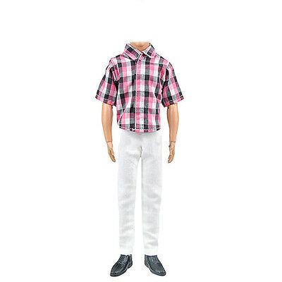 Barbie Doll Clothes Casual Clothing Set for Ken Red Check Top + White Pant HOT