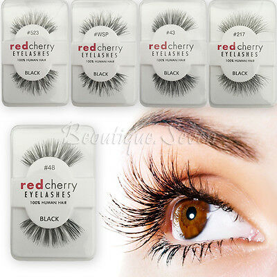Handmade Lashes 100% False Human Hair Eyelashes Makeup Eye Adhesives Red Cherry