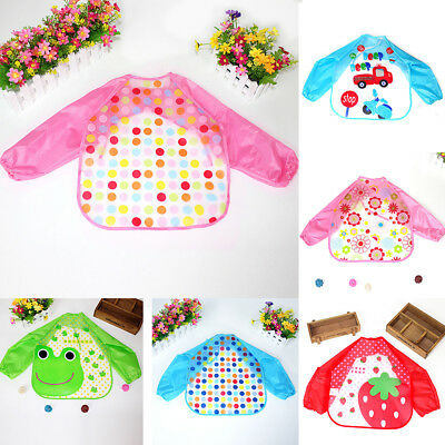 Baby Long Sleeve Bibs Bib Apron Waterproof Art Smock Feeding Toddler Children