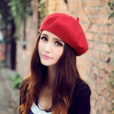 AU Plain Beret Hat 100% Wool Newsboy Hat Cap French Women Girls Fashion Hats