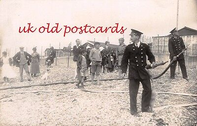 Firemen on the Beach, Unidentified Real Photo - Kent area ??