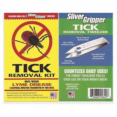 Uncle Bills Sliver Gripper Tick Removal Kit: Tweezers Lens & Antiseptic Towel