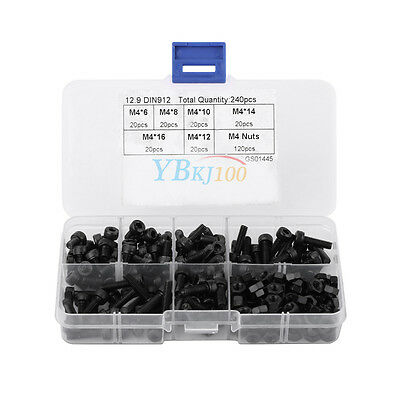 240pcs Metric M4 6-16mm Cap Head Hex Socket Cap Bolt Screw Nut Assortment Kit rk