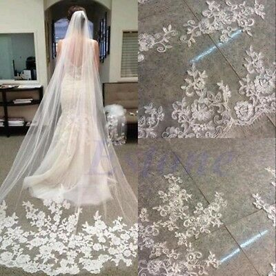 3M 1 Layer Cathedral Lace Edge Bride White Long Veil + Comb Wedding Bridal