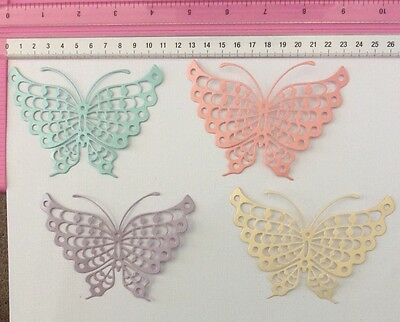 Die Cuts! 4 Pc 'Large Butterfly' Cardmaking Embellishment Pearlised Cardstock