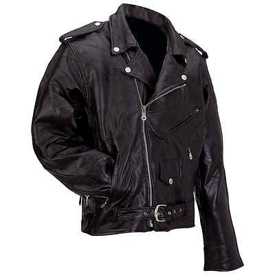 Men's Rock Design Genuine Buffalo Leather Motorcycle Jacket Classic Biker Style