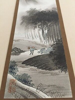Pair Of Matsumoto Studio Japanese Water Colour Oriental Art Signed