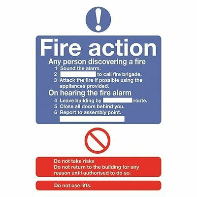 Safety Sign Fire Action Standard A5 Self-Adhesive FR03551S [SR11225]