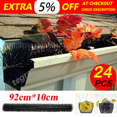 24 PCS GUTTER BRUSH GUARD 100mm x 22M LENGTH - LEAF TWIGS HEAVY DUTY HOME GARDEN